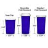 Blue Pharmacy Vials, Reversible / Child Resistant Caps, 30 dram (1.875 oz), case/195