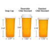 Amber Pharmacy Vials, Reversible / Child Resistant Caps, 40 dram (2.5 oz), case/130