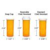 Amber Pharmacy Vials, Reversible / Child Resistant Caps, 8 dram (1/2 oz), case/410