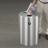 Dual Purpose Recycle Bins, RecyclePro (Paper, Bottles, Cans) 33 gallon Satin Aluminum
