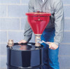Justrite Metal Drum Funnel with flame arrester and tip-over protection kit