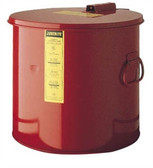 Justrite 27713 3.5 gallon Steel Wash Tank with Basket, Round Style