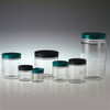 Clear Glass Jar, 1oz, Black Vinyl Lined Cap, case/48