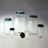 Clear Wide Mouth Bottle, 4oz, Green, PTFE Lined Cap, case/24