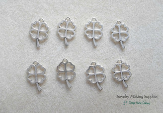 Holidays themes luck st patricks day cottagehousecreations silver 4 leaf lucky charm pendant jewelry making supplies aloadofball Choice Image