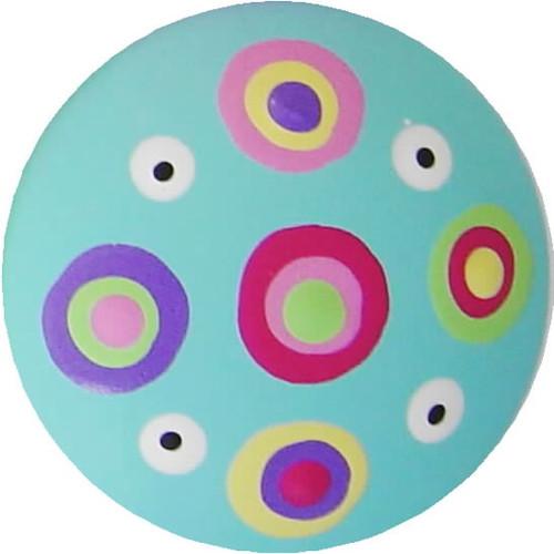Circle Dot Aqua Drawer Pull