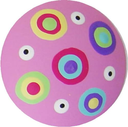 Circle Dot Pink Drawer Pull