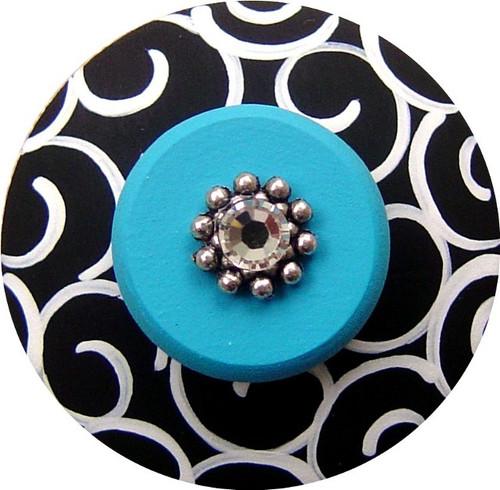 Jeweled Black and White Drawer Pull