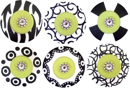 Jeweled Black White and Green Drawer Pull Set