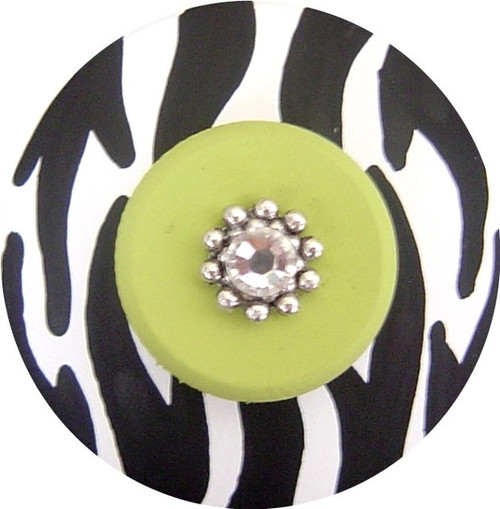 Jeweled Black White and Green Zebra Drawer Pull