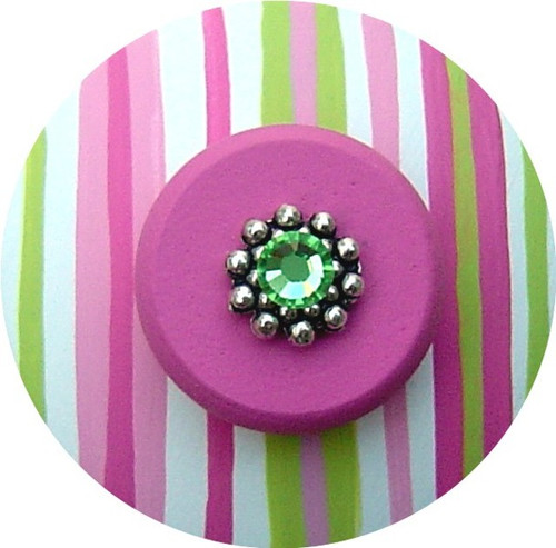 Jeweled Green White and Pink Stripes Drawer Pull