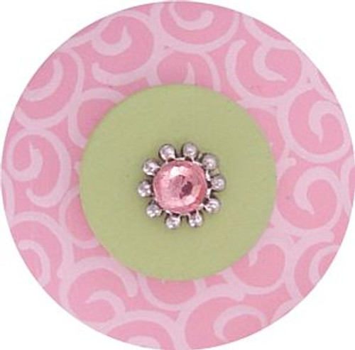 Jeweled Pink and Green Swirl Drawer Pull
