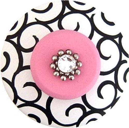 Jeweled White Black and Pink Swirls Drawer Pull