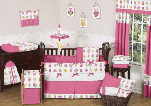 Happy Owl  9 Piece Baby Girl Bedding Set