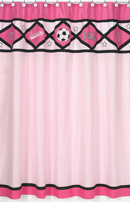 Soccer Pink Shower Curtain