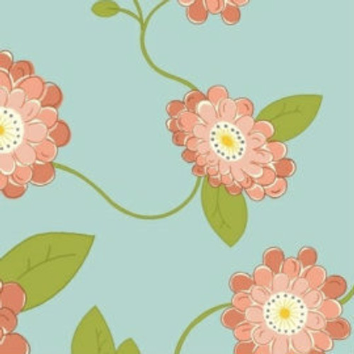 Coral Floral Fabric by the Yard