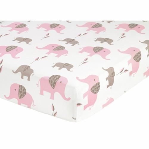 Elephant Pink Elephant Print Crib Sheet