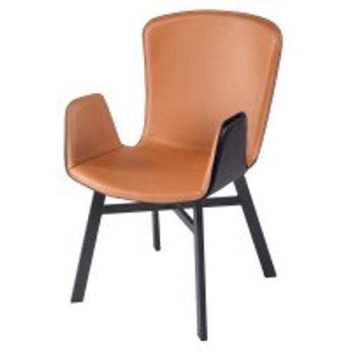 Claire KD Recycled Leather Arm Chair, Ginger Brown/Black