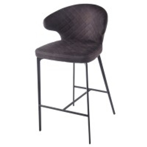 Bradley KD Fabric Counter Stool, Moonstone Hide Black