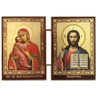 """Matched Set Gold Foil Icon Diptych- Virgin of Vladimir and Christ The Teacher -3 1/2""""x5"""""""