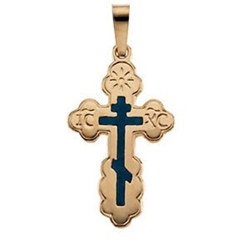 14KYG St. Olga Style Cross with Blue Enamel- Small- FREE 2DAY SHIPPING!*