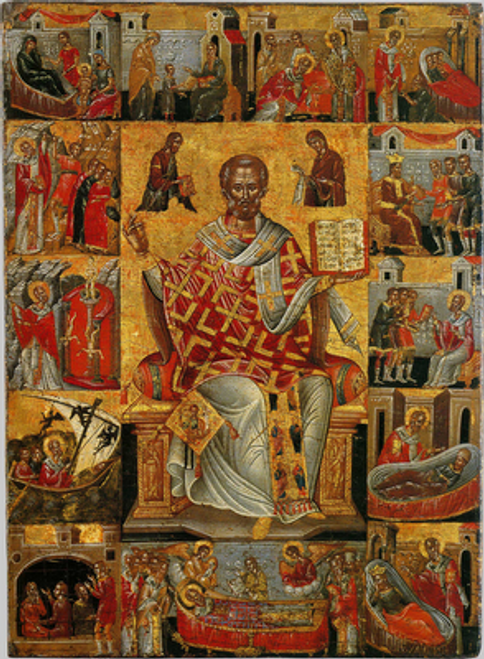 St. Nicholas Icon with Scenes