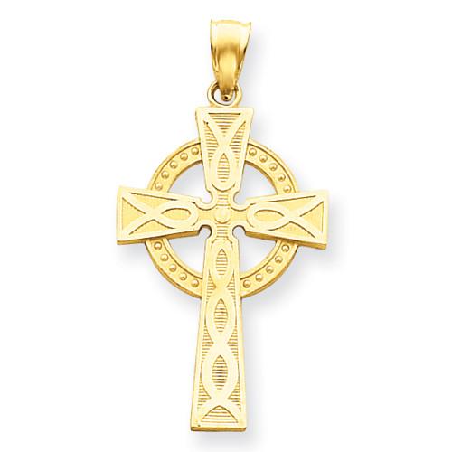 """14KYG Celtic Cross Pendant- 1 1/2"""""""