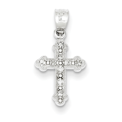 "14KWG Genuine Diamond Byzantine Cross Pendant- 1/2"""