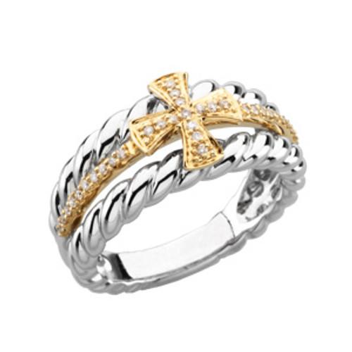 14KYG, 14KWG and Genuine Diamond Ladies Greek Cross Wedding Ring