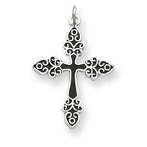 Sterling Silver Black Enameled Cross Pendant