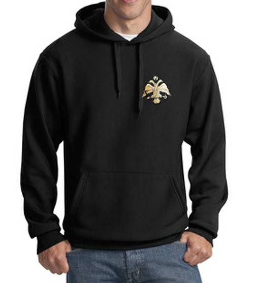 Embroidered Byzantine Eagle Hoodie- Men's