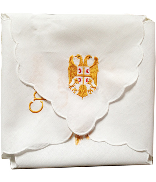 Embroidered Slava Cloth: Gold Slava Symbols- (Display Style)
