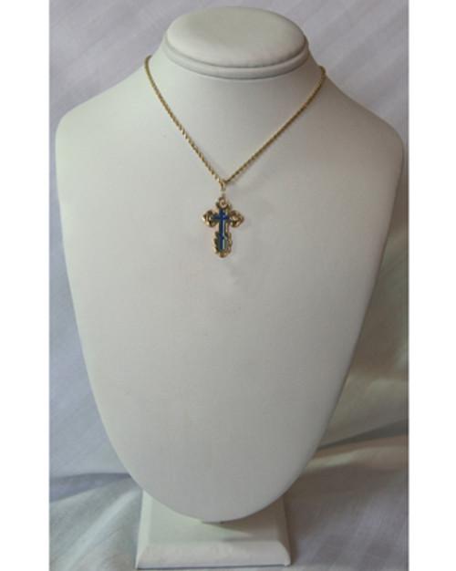 10KYG St. Olga Style Cross with Blue Enamel- Medium