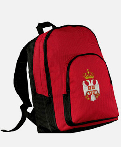 Embroidered Serbian Grb Backpack- Red- Personalized