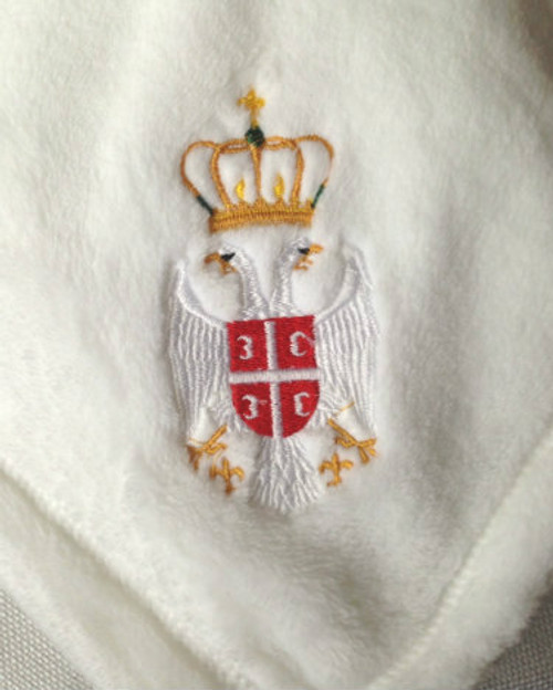 Serbian Grb Embroidered Microfleece Baby Blanket- MORE COLORS!