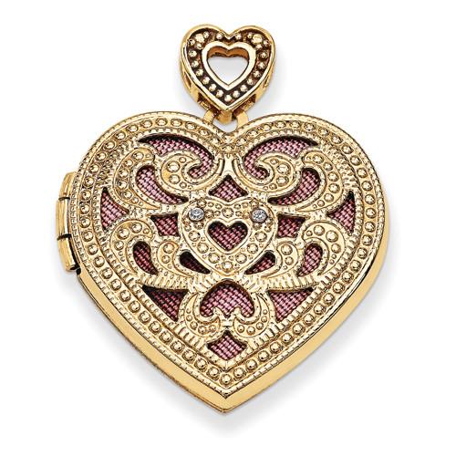14KYG 24mm Heart w/Diamond Vintage Locket