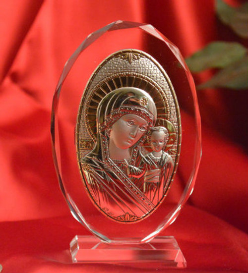 Italian Silver Icon of Christ and Theotokos on Glass Stand