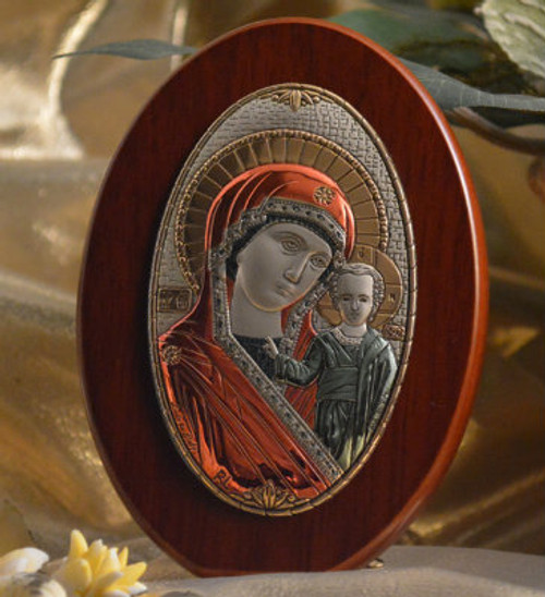 Italian Silver Icon of Christ and Theotokos on Wood (Colored)