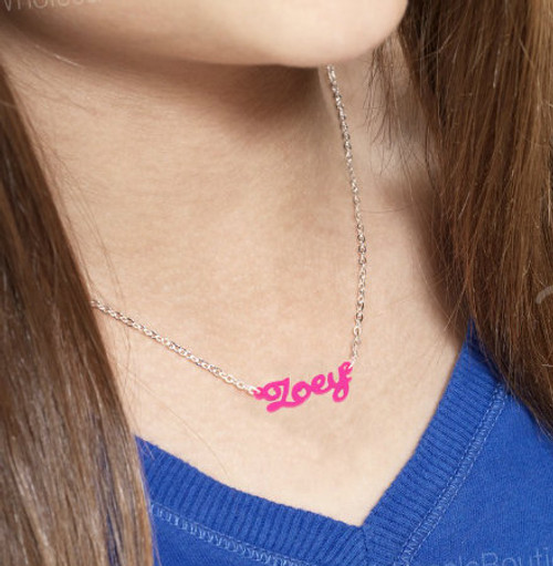 Personalized Acrylic Necklace with Silver or Gold Plated Chain: MORE COLORS!
