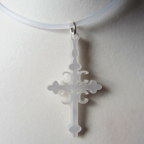Shown here with Clear Rubber Cord with Sterling Silver Clasp