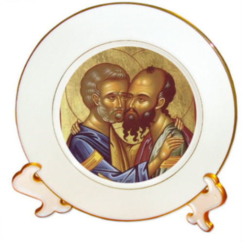 "8 1/4"" Porcelain Icon Plate with 24K Gold Trim: Ss. Peter and Paul: Style 2"
