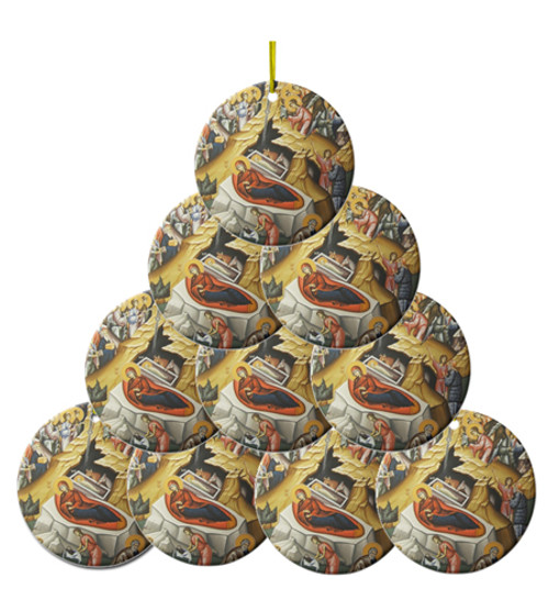 Nativity Icon Ceramic Ornaments- Set of 10