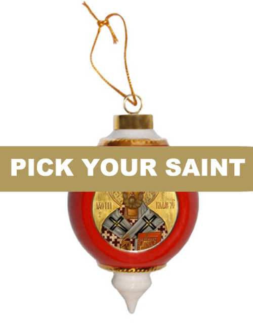 Pick-Your-Saint Porcelain Bulb Ornament- Red