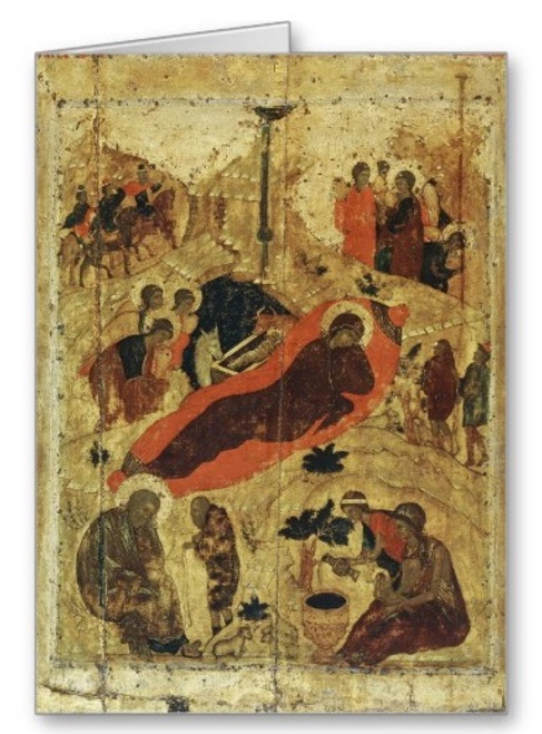 Nativity of Christ Icon IV (Rublev) Greeting Card