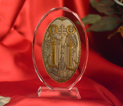 Italian Silver Icon of Ss. Constantine and Helen on Glass Stand