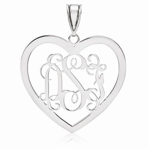 """Sterling Silver Heart Monogram Pendant 1 1/8"""""""