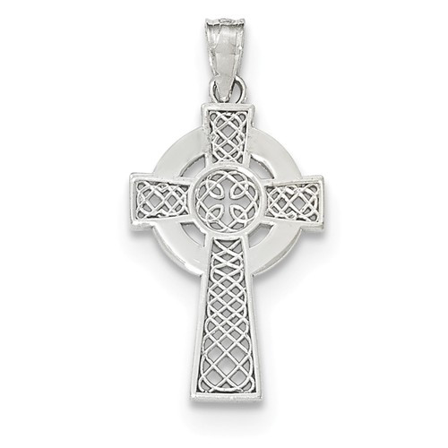 14KWG Polished Celtic Cross Pendant- 1 1/8""
