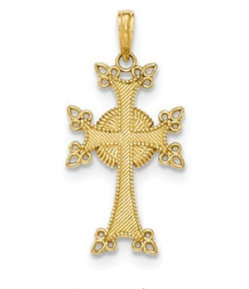 "14KYG Siroun Cross Pendant- 1 1/2"""