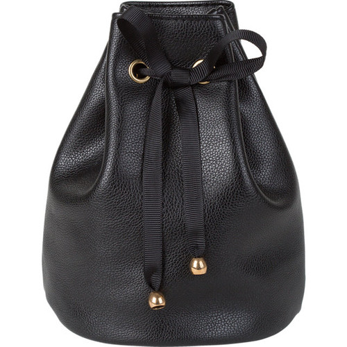 Leatherette Gift Pouch with Satin Drawstring Ribbon: Black