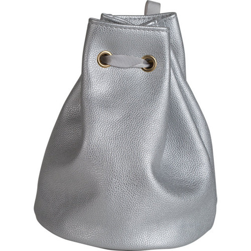 Leatherette Gift Pouch with Satin Drawstring Ribbon: Silver